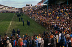 Crowds leaving Athletic Park at the end of the second rugby test, 29 August, 1981